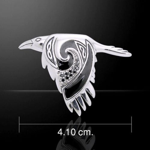 Celtic Raven Pendant .925 Sterling Silver Morrigan Crow Raven in Flight Amulet