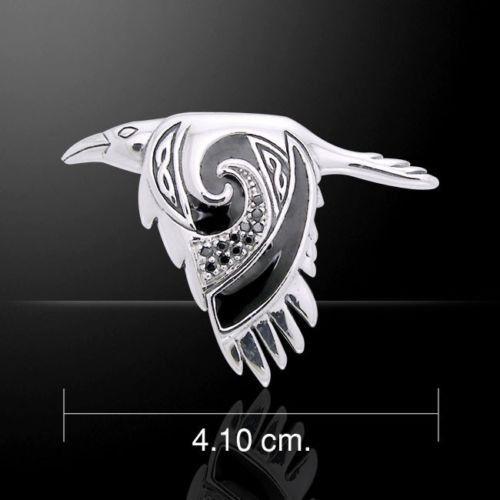 Celtic Raven Pendant .925 Sterling Silver Morrigan Crow Raven in Flight Amulet