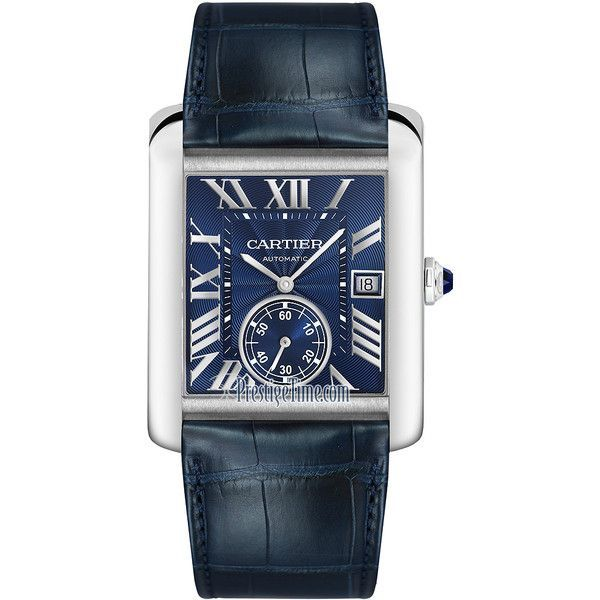 Cartier Tank MC wsta0010 Watch ($6,090) ❤ liked on Polyvore featuring men's fashion, men's jewelry, men's watches, stainless steel, men's white dial watches, mens white watches, mens blue watches, mens roman numeral watches and mens stainless steel watches #menswatchesfashion
