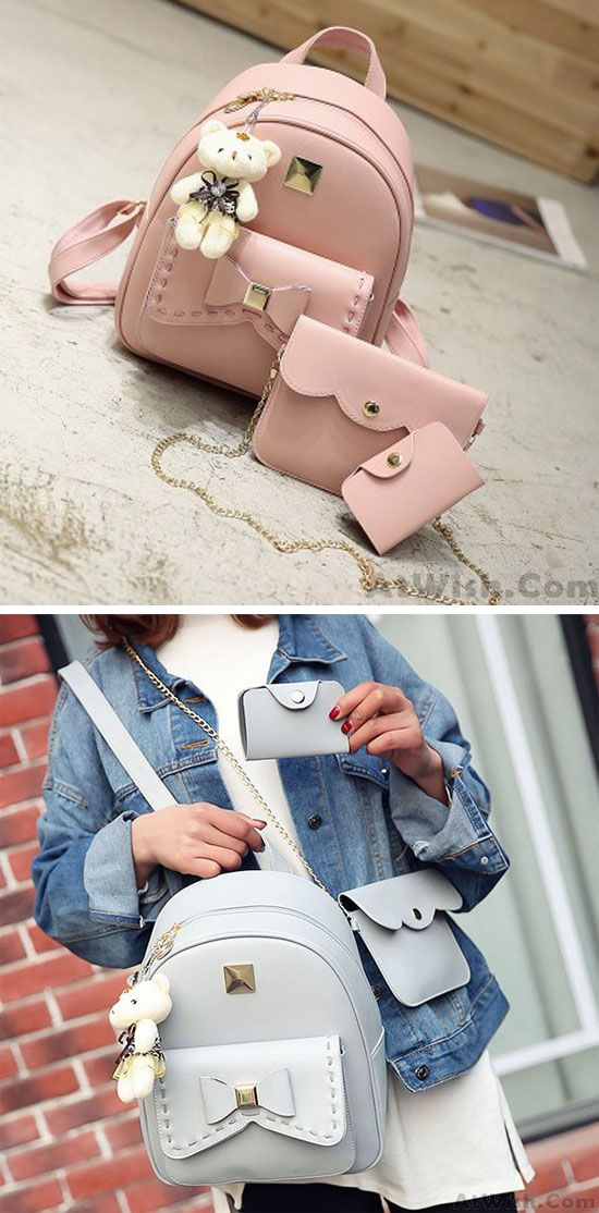 Lovely Bear Pendant PU School Backpacks Gray Pink Splicing Bowknot School Bag for big sale! #bow #pink #Bear #pu #school #college #Bag #Backpack #fashion #travel #rucksack #canvas