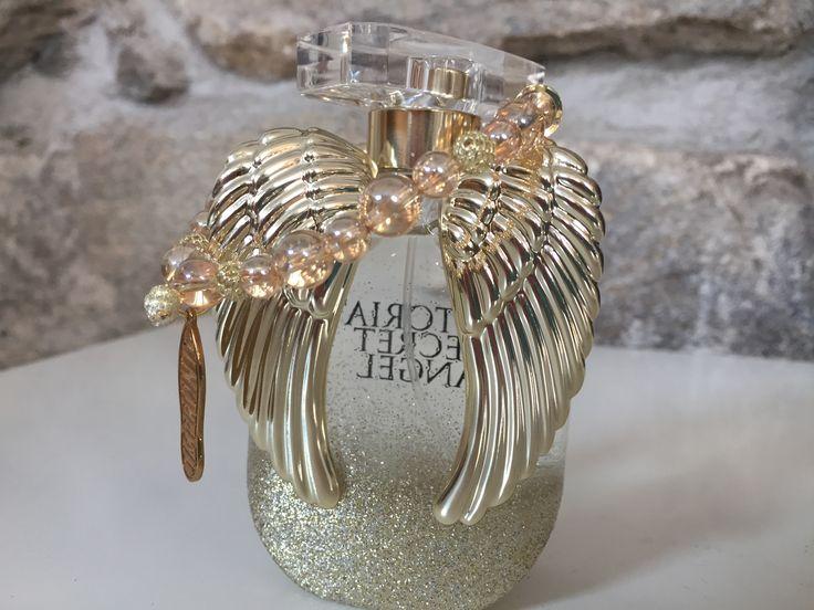 Náramek - Angel/  Drahé kameny Zlatá aura, s pozlacenými stříbrnými komponenty a  mosaznou stopou Impronte na průžné gumičce.