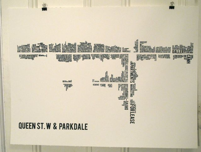 queen west & parkdale typography map