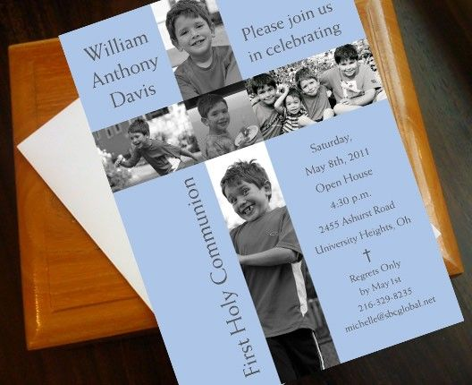 First Communion Photo Cross Invitation. I bet Andy would love this! She takes gorgeous photos of her boys.