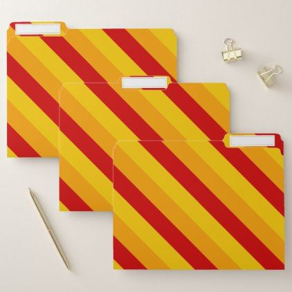 Red Orange Yellow Stripes Pattern File Folders - diy & cyo customize