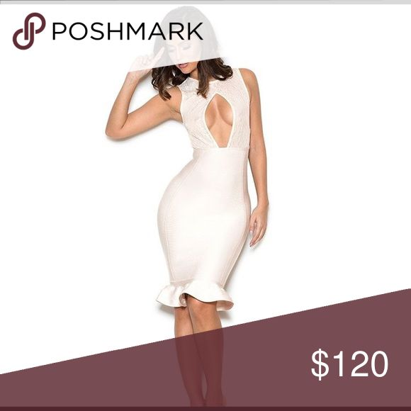 Cream Lace And Bandage Peek-A-Boob Dress Lace Bandage Dress Celebrity Boutique Dresses Midi