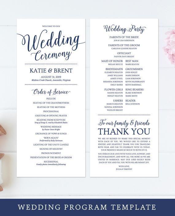 Wedding Program Template Printable Wedding Programs Blush Etsy Printable Wedding Programs Wedding Programs Template Gold Wedding Ceremony