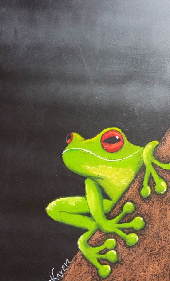 Large standing Message Blackboard with Green Tree Frog on Log artwork