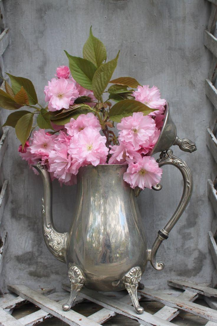flowers in silver coffee server