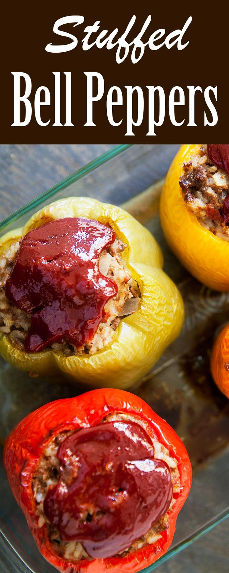 Dad's Stuffed Bell Peppers ~ Bell peppers stuffed with a mixture of ...