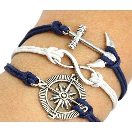 usd14.99/Navy Style Anchor Compass Bracelet