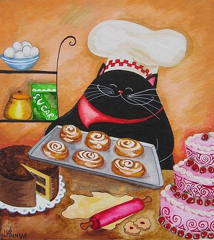 Pastry Chef with Cinnamon Rolls by annya127 on Etsy