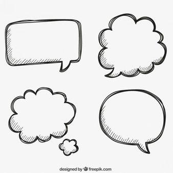Bocadillos de habla dibujados a mano
