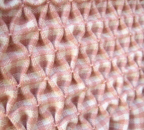 Smocked Gingham Pleated Bag Vintage wool Fabric and Leather
