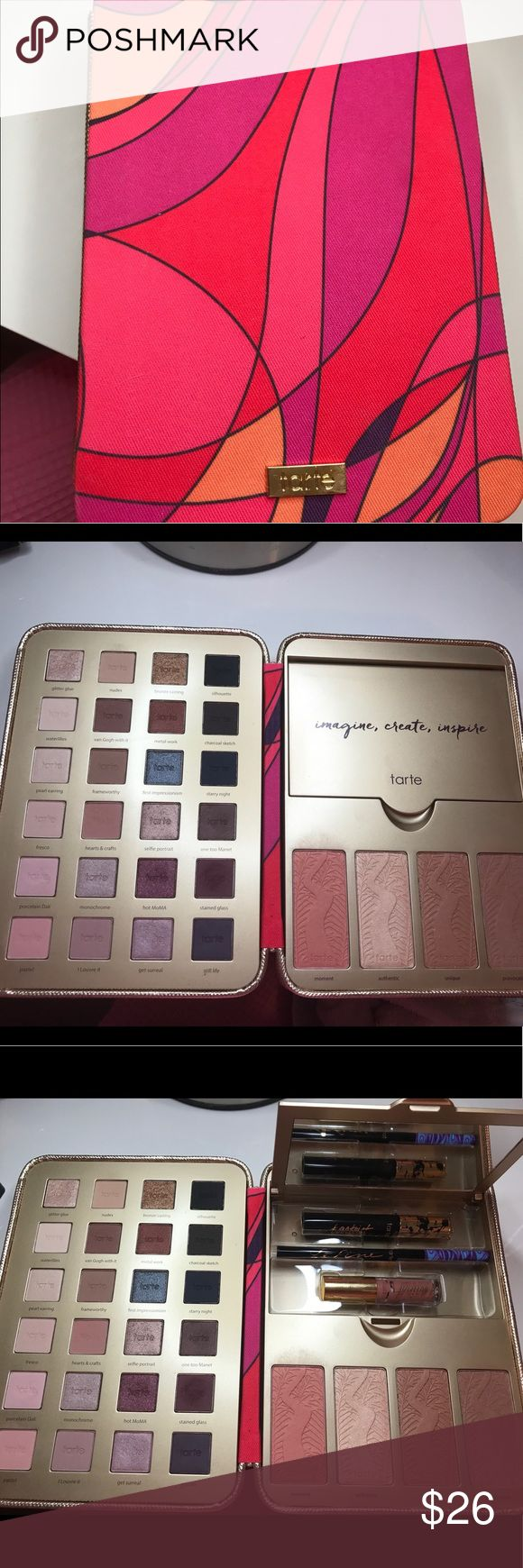Tarte Holiday Palette Used once. Mascara, liner and lip gloss have never been used. I just own too much make up and need to purge the things I don't use. Tarte Makeup Eyeshadow