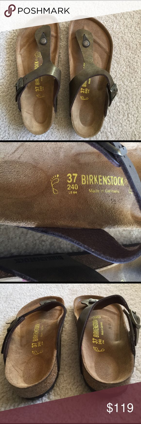 Birkenstock sandal Birkenstock sandals new without box. Euro size 37 but in us sizing that is a 6. Kind of a bronze color, gizeh style Birkenstock Shoes Sandals