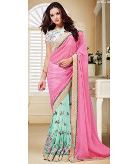 Stunning Pink And Blue Georgette Saree.