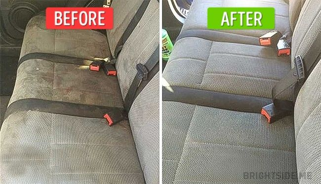 Tosave money ondry-cleaning, try toclean your car seats yourself. Use this home-made solution: mix washing upliquid, baking soda, vinegar and water. Spray itonyour car seats and scrub them using ahard brush.
