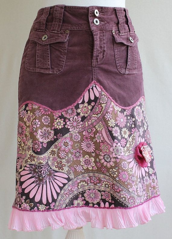 Upcycled Flowery Stretch Corduroy Skirt With by MozingoAndTolk, $149.00. This is too cute.
