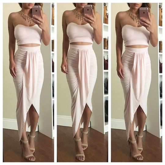 This outfit is perfect for summer! love the light pink skirt and matching top! matching skirt and top sets are so popular for this summer season!