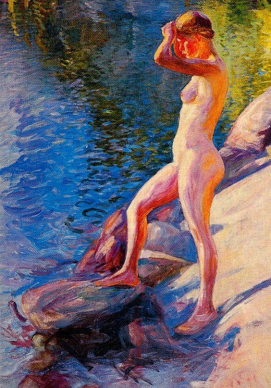 """Kuva albumissa PEKKA HALONEN - Google Kuvat. """"Uimaan lähdössä"""" 1910."""