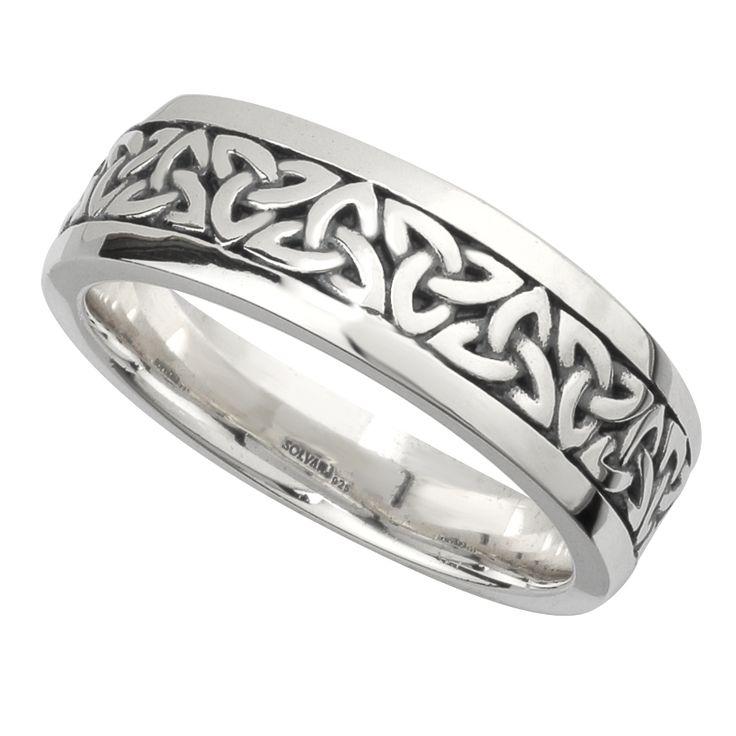 Irish Wedding Band - Sterling Silver Mens Celtic Trinity Knot Ring