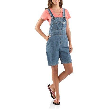 Carhartt Denim Bib Overall Shorts Unlined For Women