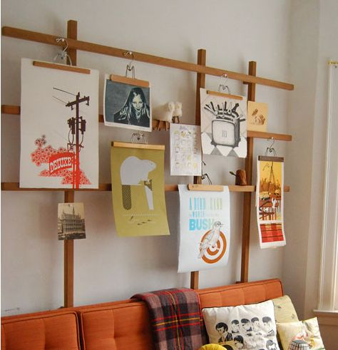 gallery wall - great for those of use that like to change things often. could work in an office as an inspiration board