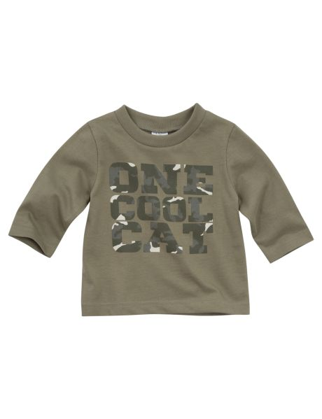 This long-sleeved tee features a 'One Cool Cat' print on the front