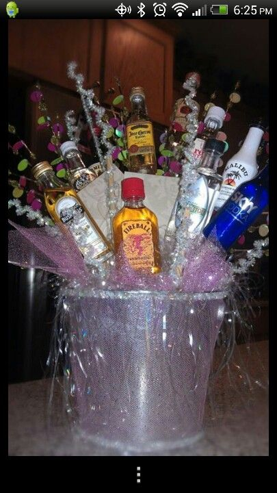 Birthday Gift Basket For Husband : Best images about mini liquor bottle gifts on