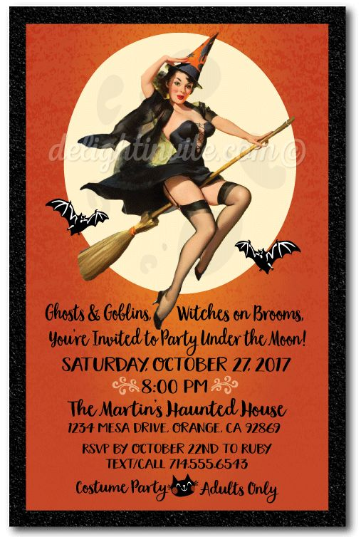 Pin-up Witch Halloween Party Invitations, vintage Halloween costume party invites for adults