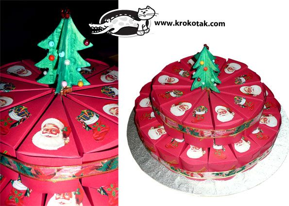 A Christmas paper cake ( the template for print is http://krokotak.com/2013/03/surprise-cake/)