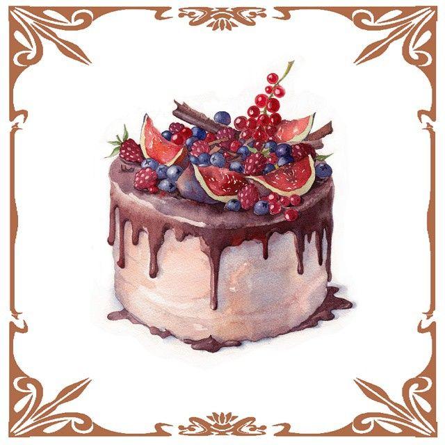 Торт для  @daria_barcelona  #watercolor #aquarelle #watercolour #paint #painting #paintings #drawing #drawingfood #drawings #illustration #foodillustration #sketch #sketchbook #sketchaday #graphic #graphicdesign #ink #dessert #desserts #cake  #акварель #графика #торт #иллюстрация