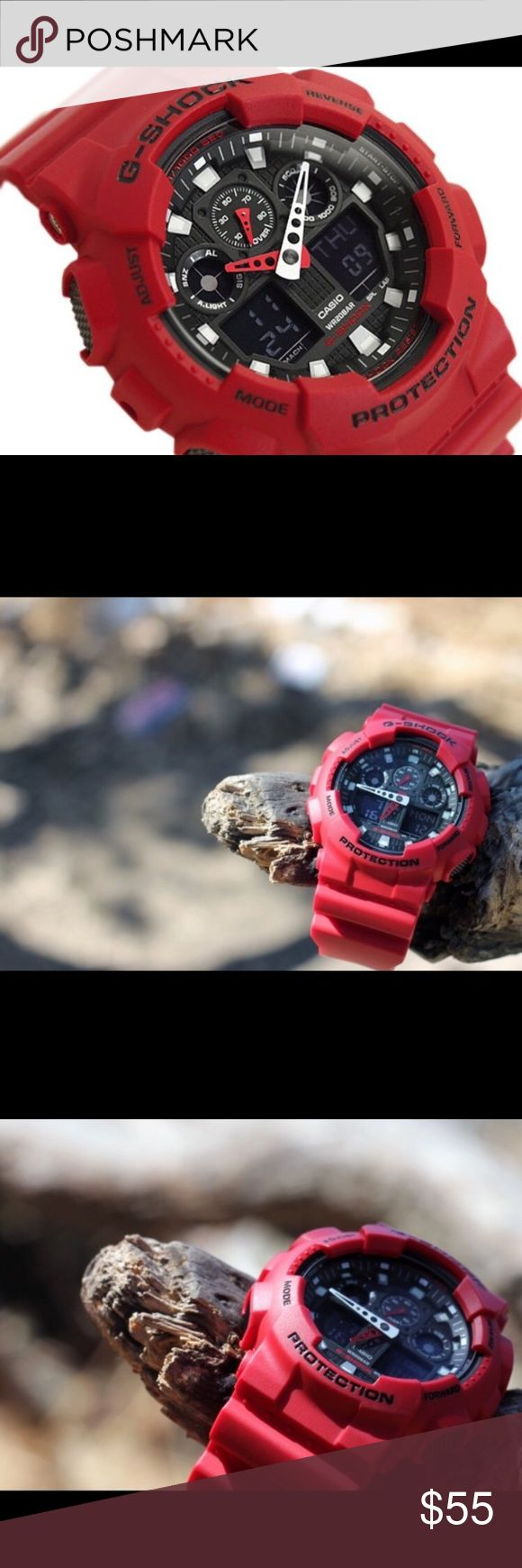 NEW Casio G Shock GA-100 Red Edition BRAND NEW Men's Casio G Shock Fully Red Edition! *COMES WITH FULL PACKAGING**  Great for gift! (Original packaging with tags)  Model: GA100 Casio G Shock   Retail price ($110)  Lowest prices offered  We will ship same day!   Buy with confidence, 100% satisfaction guaranteed   Returns are accepted within 7 days for a full refund.   Thanks Casio Accessories Watches