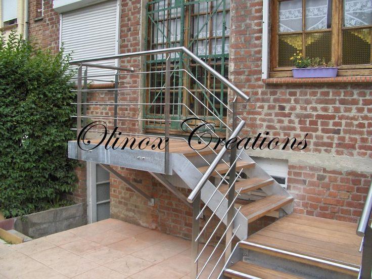 escalier jardin extérieur | Escalier extérieur limon galva marches Merbaux Lille