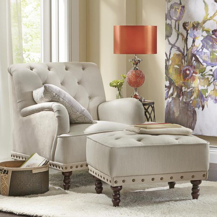 Best Tufted Accent Chair And Nailhead Ottoman Green Living 400 x 300