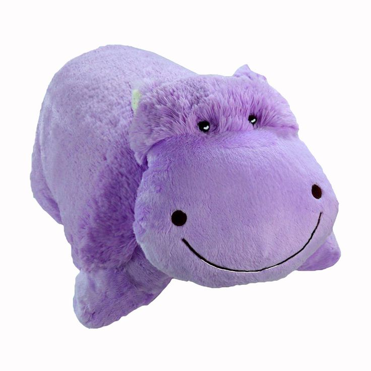 "It's A Pillow, It's A Pet...It's A Pillow Pet! This is an official My Pillow Pets Product - Pillow Pets pee-wees. This purple fur hippo is absolutely adorable. It measures 11"" x 11"". Like all pillow p"