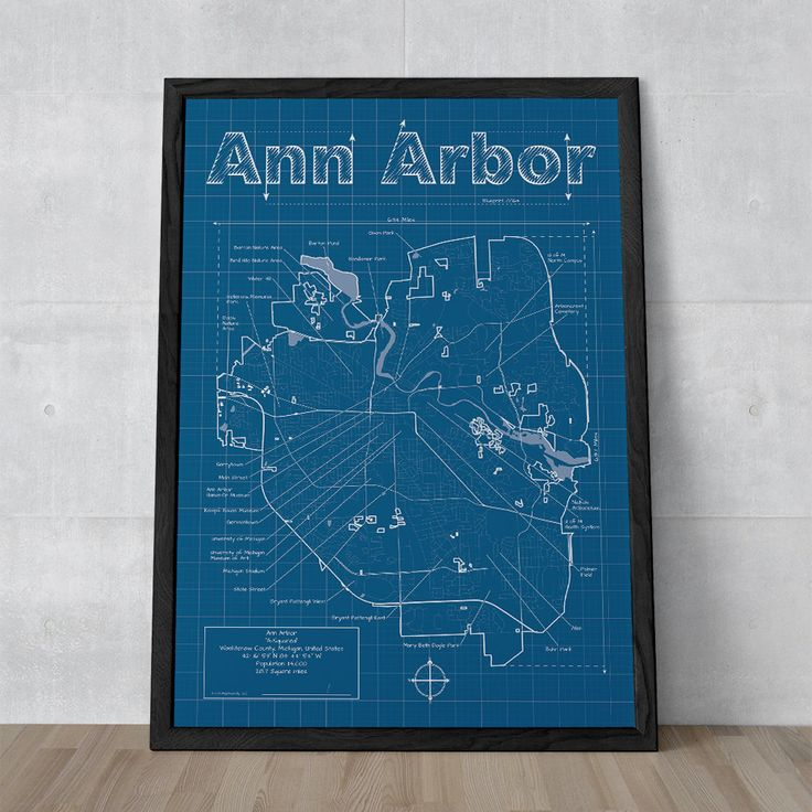 Maryland Map Coordinates%0A Ann Arbor Artistic Blueprint Map by MapHazardly on Etsy