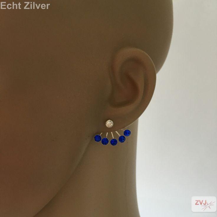 Zilveren 2-delige witte kristall oorbel met 5 blauwe kristallen hanger - ZilverVoorJou Echt 925 zilveren sieraden