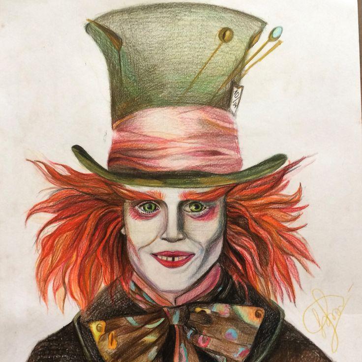 Безумный Шляпник, цветные карандаши А3, 2015г.