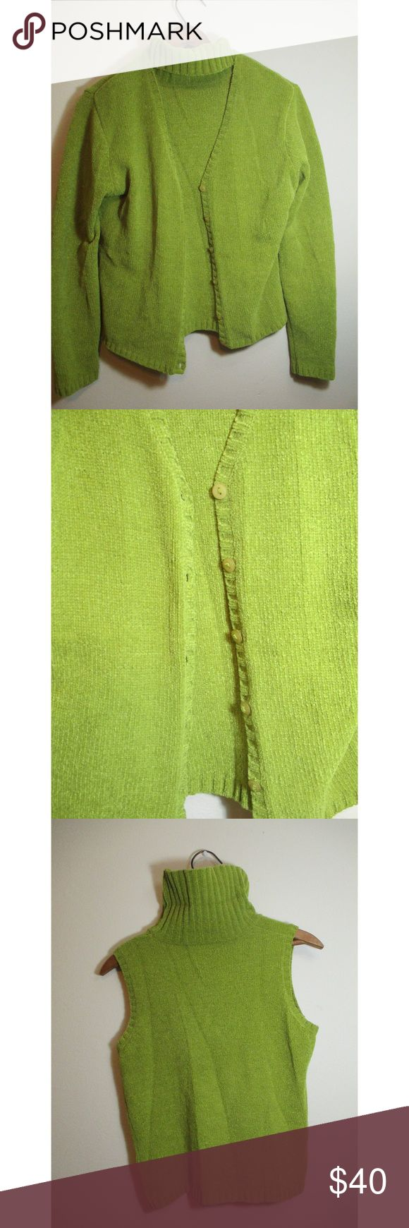 Tomfoolery green turtle neck sleeveless sweater Super soft Tomfoolery green turtle neck sleeveless sweater with button up cardigan. I do not do trades but I do accept reasonable offers. tomfoolery Sweaters Cardigans