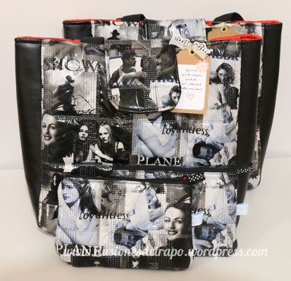 bolsos y monederos negros con tela alcochada www.ilusionesdetrapo.wordpress.com
