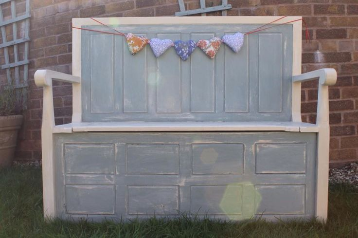 Storage bench painted up in Annie Sloan Old Ochre & Duck Egg x