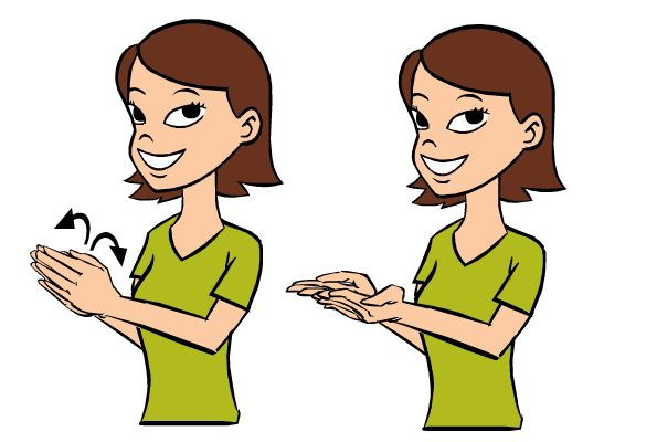 Video:  Book in Baby Sign Language   Signing: To sign book, put your hands together, palm-to-palm.  Then holding your pinkies together, open