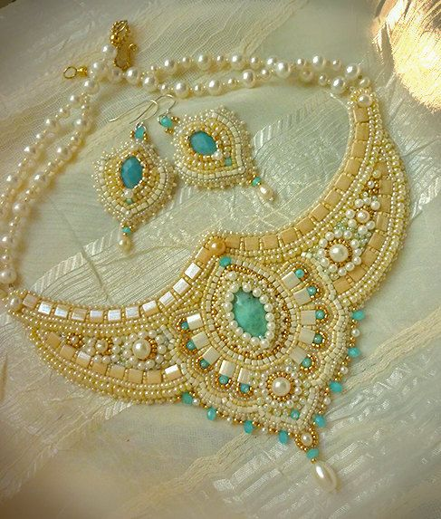 Anju - Embroidered necklace in Indian style. Bead Embroidery Art.. $311.00, via Etsy.
