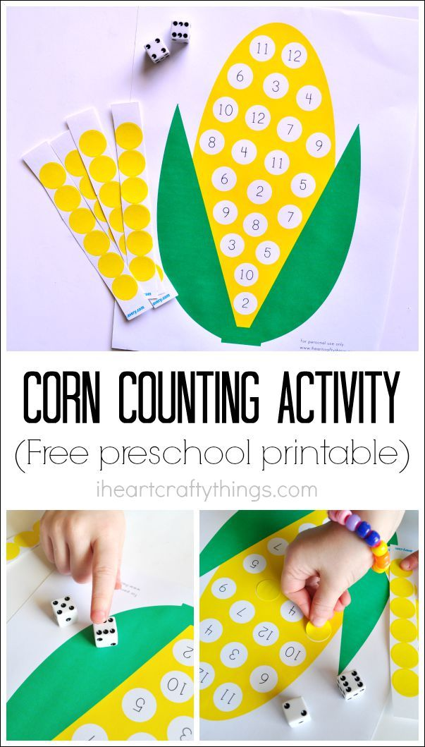 Use this Preschool Corn Counting Printable to practice numbers to 12, counting, fine motor skills and hand-eye coordination. A fun preschool learning activity for Fall.