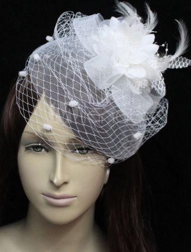 ヘッドドレス,ホワイト ウエディング チュール 花嫁様向け コサージュ髪飾り - Milanoo.jp