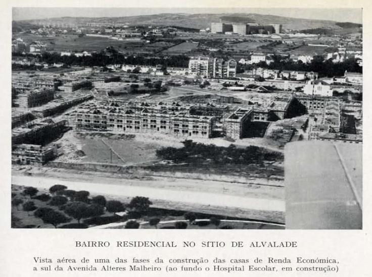Bairro Residencial no sitio de Alvalade. Dá para ver o Hospital de Santa Maria, o Jardim do Campo Grande e o Aqueduto das Águas Livres.