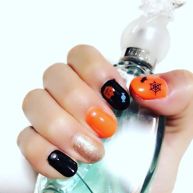 #セルフネイル #ジェルネイル #ハロウィンネイル #オレンジ #黒 #ゴールド #おばけかぼちゃ #ANNASUI #secretwish