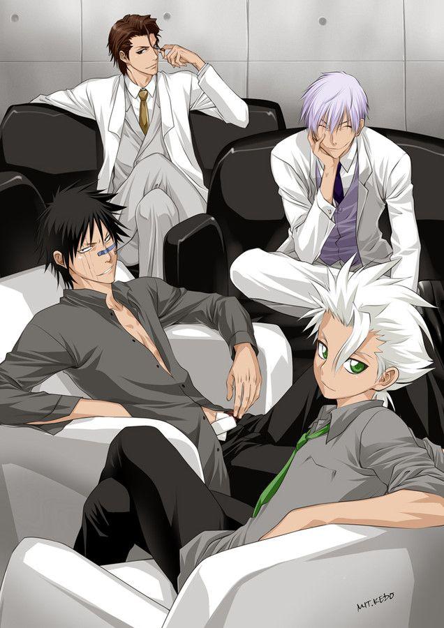 From the top: Aizen Sosuke, Ichimaru Gin, Hisagi Shuhei, and Hitsugaya Toshiro // how could I not repin this?