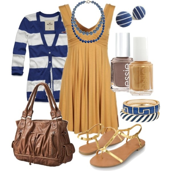 : Blue Gold, Outfit Ideas, Fashion Ideas, Style, Clothes, Dresses, Polyvore